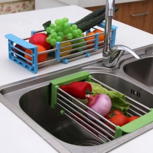 不锈钢可伸缩厨房置物架 碟碗架 沥水架 橙色