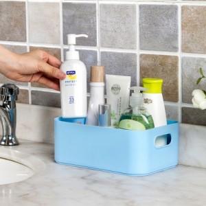 可拆卸化妆品收纳盒 马卡龙色分格化妆盒 蓝色