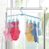 多用途可折叠8个夹子塑料衣架 晾衣架 衣物架 FTH015 粉色