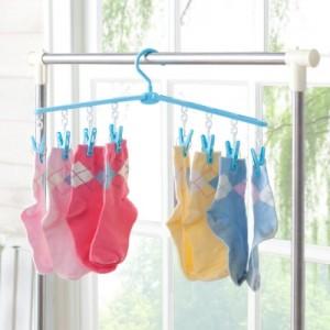 多用途可折叠8个夹子塑料衣架 晾衣架 衣物架 FTH015 绿色