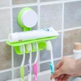创意吸盘双层牙具挂架  四口之家套装牙刷架  绿色