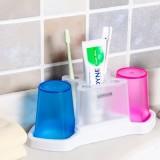 透明款情侣洗漱套装洗漱口杯 两杯牙刷架套装 (两格杯子套装)JW-7081 粉+蓝