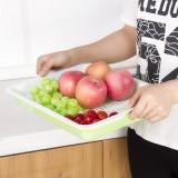 厨房多用长方形水果盘 塑料双层沥水盘 果蔬盘 深蓝