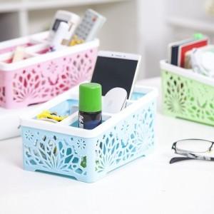 居家时尚多功能收纳筐 一体式镂空桌面收纳盒 办公杂物塑料整理盒   黄色