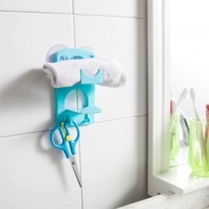 带吸盘双层海绵沥水架 厨房浴室杂物收纳架 蓝色