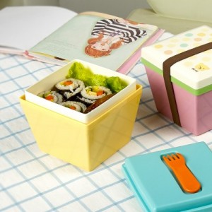 日式糖果色双层方斗形便当盒 饭盒 泡面碗 粉色