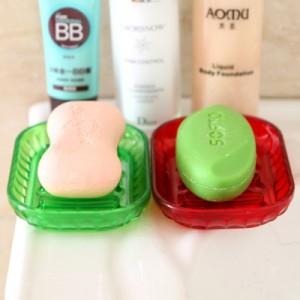 创意时尚防滑皂盒 炫彩晶体沥水皂盒  蓝色