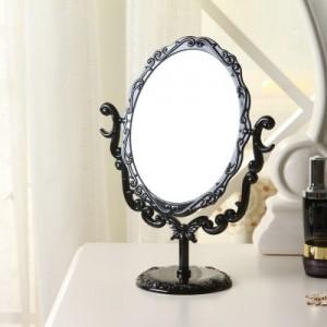 八零良品 复古蔷薇花台式化妆镜子 黑色