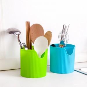 塑料四格筷子筒 多彩厨房沥水筒 餐具笼刀叉分格收纳桶(加厚款) 绿色