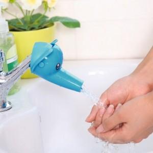 卡通大头立体儿童导水槽洗手器 水龙头延伸器 蓝色大象