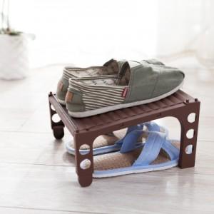 日式可叠加上下双层鞋子收纳架 节省空间立体式鞋架 FTS035 蓝色