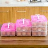 创意便携式鸡蛋盒 冰箱鸡蛋收纳盒( 一层) 蓝色