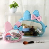 Journey Cat 可爱兔耳朵美乐蒂透明PU皮防水洗漱包 化妆包 大号 粉色