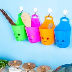 多用壁挂式笑脸可叠加收纳篮 浴室吊篮 塑料杂物储物篮 沥水挂篮(小号) 绿色