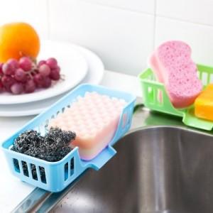 多功能水槽收纳篮 炫彩多用海绵沥水篮 FTK065 粉色