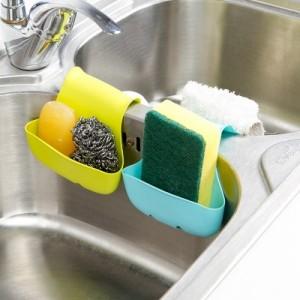 马鞍式卡位双边海绵收纳架  厨房水槽沥水篮 粉色
