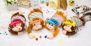 新款电热水袋 防爆卡通充电暖手宝 帽子猴 玫红帽子