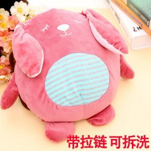 爆款 全新卡通充电热水袋 毛绒暖手宝抱枕 圆形动物 粉色米兔