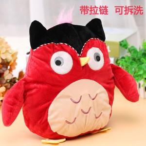 爆款 全新卡通充电热水袋 毛绒暖手宝抱枕 圆形动物 红色猫头鹰