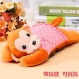 新款电热水袋 防爆卡通充电暖手宝 歪头猴狗熊 橙猴