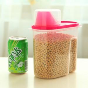 带盖密封罐厨房保鲜盒 塑料杂粮储物收纳罐 小号 玫红 80个/箱
