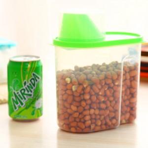 带盖密封罐厨房保鲜盒 塑料杂粮储物收纳罐 小号 绿色 80个/箱