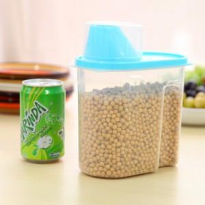 带盖密封罐厨房保鲜盒 塑料杂粮储物收纳罐 小号 蓝色 80个/箱