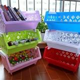 日式塑料收纳篮 多层可叠加果蔬收纳筐 粉色