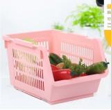 带轮子塑料日韩收纳篮 多层可叠加果蔬收纳筐 粉色