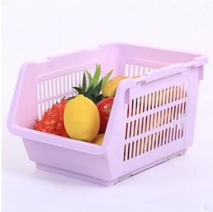 带轮子塑料日韩收纳篮 多层可叠加果蔬收纳筐  紫色