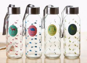 卡通便携式透明玻璃杯 带绳运动水杯 车载杯子 小动物 300ml
