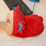 毛绒USB发热保暖暖手鼠标垫抽手款-红鱼