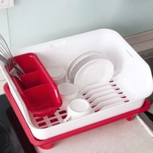 塑料双层碗架 厨房碗筷碗碟置物架餐具收纳架水果蔬菜沥水架(单层) 蓝色
