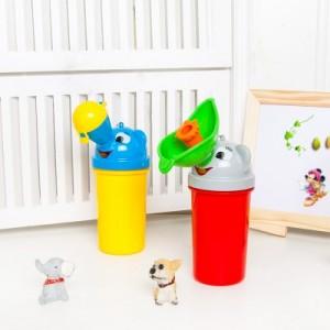 外出旅行便携式儿童小便器便斗 男女宝宝婴儿防漏接尿器 便利尿杯 蓝+黄(男款)