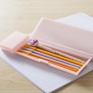 韩国文具 学习用品磨砂半透明文具盒 PP塑料铅笔盒(大号)JY064 粉色