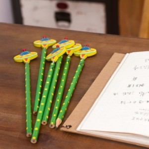 韩国文具创意木质卡通弹簧摇头铅笔 木制笔 6支装-飞船