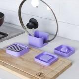 多功能实用厨房四宝 烹饪工具4件套 榨汁器 磨蒜器 锅盖支架 黑色