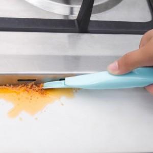 厨房煤气灶台去污双头刮刀 缝隙污渍去污铲刮 开罐器 蓝色
