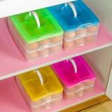 创意便携式鸡蛋盒 冰箱鸡蛋收纳盒 多功能储物盒(三层) 蓝色