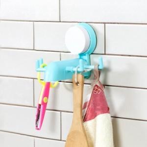 强力无痕静电吸盘4爪挂架  多用小物壁挂挂钩 粉色