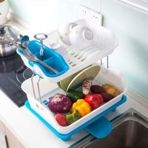 塑料双层碗架 厨房碗筷碗碟置物架餐具收纳架水果蔬菜沥水架(双层) 蓝色