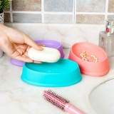 糖果色椭圆形塑料沥水肥皂盒 家居卫浴日用香皂盘 ty-0251 蓝色