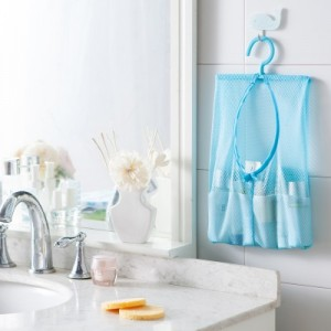居家防尘防潮网袋挂钩 厨房浴室用品透明网格收纳袋 JY075 粉色