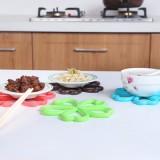 糖果色优质樱花形防烫隔热垫 厨房餐桌PVC防滑锅垫 杯垫碗垫盘垫 蓝色