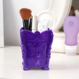 八零良品 时尚复古蝴蝶雕花立体桌面化妆收纳盒 笔筒 透明