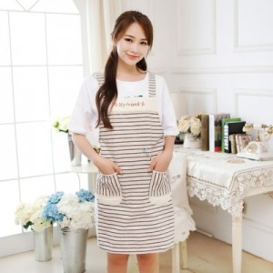 韩版时尚无袖家居围裙 餐厅酒吧厨房棉麻围裙 小马款条纹款 红色