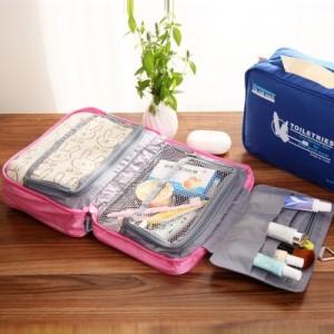 外贸原单 韩版高品质可挂式防水洗漱包 多功能牛津布旅行收纳包(大号) 蓝色