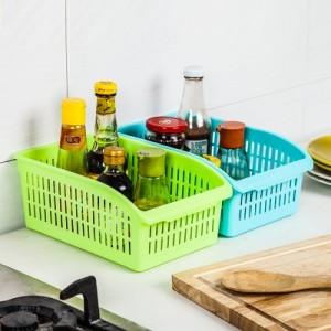 糖果色镂空多用塑料收纳筐厨房浴室收纳篮蔬菜蓝桌面收纳盒 白色