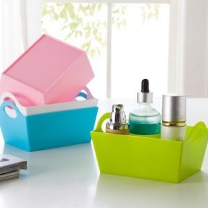 长方形糖果色桌面收纳盒 杂物整理盒杂物盒杂物零食收纳盒 蓝色