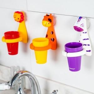 可爱卡通动物造型儿童牙刷杯 强力吸盘浴室漱口杯牙具座 BH-703 狮子